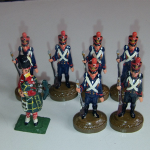 French Soldiers Infantry Hand Painted  metal unknown maker 32nd scale